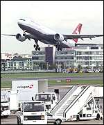 Swissair jet takes off from Heathrow