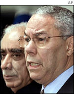 Colin Powell (right) and Indian Foreign Minister Jaswant Singh