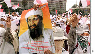 Indonesian protesters holding a poster of Osama Bin Laden