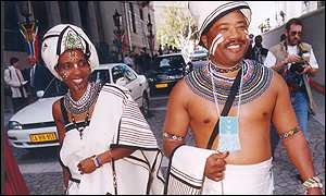 Tony Yengeni and his wife, Lumka at the opening of parliament in 1997 (Pic: Sunday Times of South Africa)