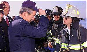 Bush speaking to New York firemen