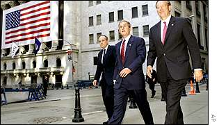 Bush, Pataki and Giuliani outside NYSE