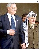 Colin Powell and Yasser Arafat