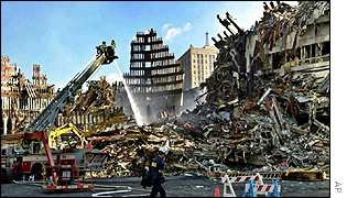 Wreckage at the site where the World Trade Center stood