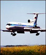 A Siberia Airlines TU-154 similar to the lost plane