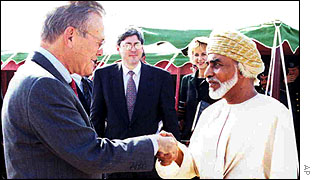 US Defence Secretary Donald Rumsfeld meets Sultan Qabous of Oman