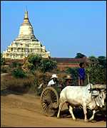 A Burmese pagoda and ox-drawn cart