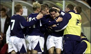 Scotland celebrate their late winner
