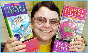Michele Fry with Harry Portter books