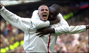 David Beckham is congratulated by Emile Heskey after his dramatic equaliser