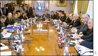 G7 ministers around a table in Washington