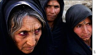 Old Afghan women refugees