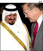 US Defence Secretary Donald Rumsfeld and his Saudi counter part Prince Sultan bin Abdul Aziz