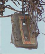 Destroyed cassettes on display