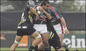 Freddie Tuilagi is held up by the Calvisano defence