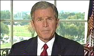 George Bush addresses the nation from the Treaty Room