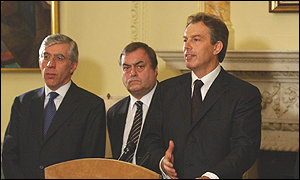 Jack Straw, left, John Prescott and Tony Blair, right.
