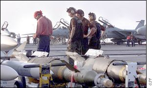 Missiles on aircraft carrier deck