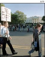 Protesters in front of White House
