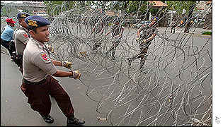 Barbed wire barricade outside the US embassy in Jakarta