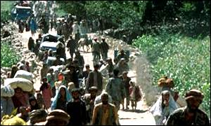 Refugees entering Pakistan
