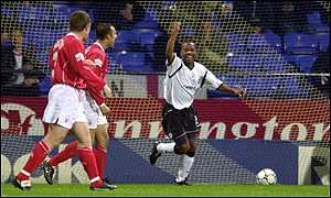 Rod Wallace celebrates the only goal of the game