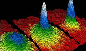 False-colour images showing the formation of the Bose-Einstein Condensate Jila