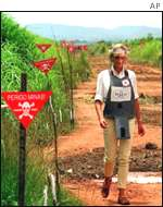 Princess Diana visits an Angolan minefield in 1997