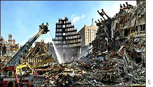 Rubble of the World Trade Center AP