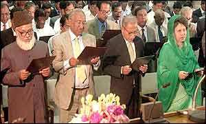 Deputies are sworn in to the Bangladeshi parliament