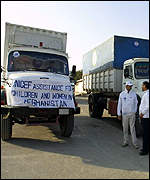 Unicef trucks waiting to enter Herat from Iran