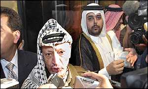 Palestinian leader Yasser Arafat in Doha for conference of Arab League foreign ministers