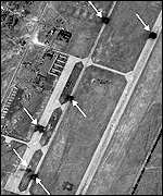 Pentagon reconnaissance photo showing damaged runways at Shindand