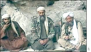 Sulaiman Abu Ghaith, left, with Osama Bin Laden, centre, and Ayman al-Zawahri