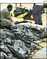 Bodies of divers lined up in bags