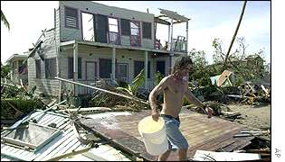 Wrecked property in coastal town