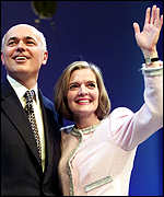 Iain Duncan Smith and wife Betsy greet his standing ovation