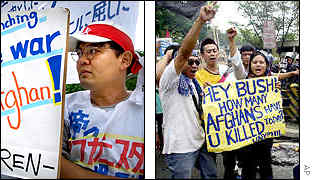 Protests in Japan, left, and the Philippines