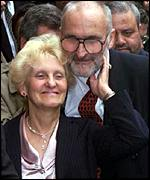 Stephen's parents celebrate outside the original trial in April 2000