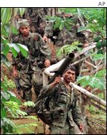 Filipino troops on the island of Basilan
