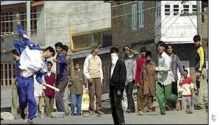Protesters in Srinagar