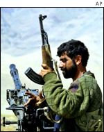 A fighter from Afghanistan's opposition Northern Alliance
