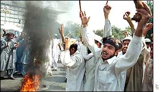 Protesters in Lahore