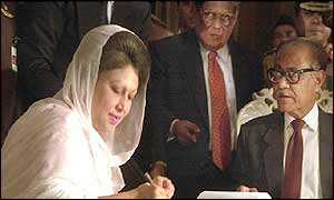 Khaleda Zia is sworn in