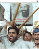 Protesters shout anti-American slogans in Pakistan during a demo on Monday