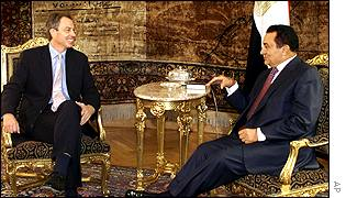 Tony Blair with President Mubarak