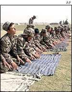 Northern Alliance fighters at prayer