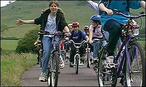 Children cycling on a cycle route