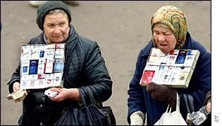 Pensioners selling cigarettes in Moscow
