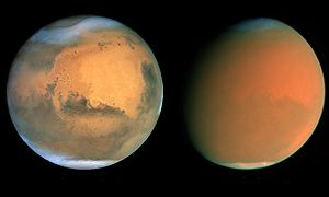 Mars in June and September 2001, Nasa, James Bell (Cornell Univ.), Michael Wolff (Space Science Inst.), and the Hubble Heritage Team (STScI/AURA)